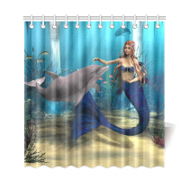 InterestPrint Underwater World Home Decor, Mermaid Dolphin Polyester Fabric Shower Curtain Bathroom Sets