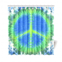 InterestPrint Peace Sign Home Decor, Tie Dye Colorful Rainbow Polyester Fabric Shower Curtain Bathroom Sets