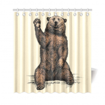 InterestPrint Funny Animal Home Decor, Bear Say Hello Polyester Fabric Shower Curtain Bathroom Sets