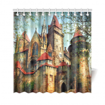 InterestPrint Medieval Castle Home Decor, Vintage Style House City Buildings Polyester Fabric Shower Curtain Bathroom Sets