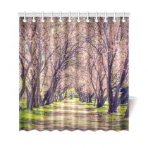 InterestPrint Blooming trees Alley Home Decor, Cherry Blossoms Spring Flower Polyester Fabric Shower Curtain Bathroom Sets