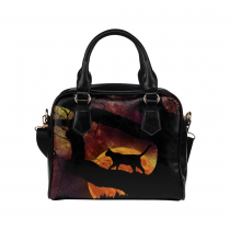 InterestPrint Halloween Cat Women's PU Leather Aslant Shoulder Tote Handbag Bag Purse
