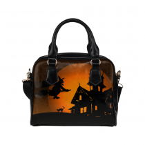 InterestPrint Halloween Cat Women's PU Leather Shoulder Bag Handbag Purse