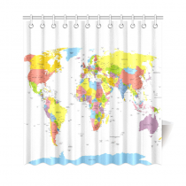 InterestPrint Globe Art Earth Home Decor,World Map Polyester Fabric Shower Curtain Bathroom Sets