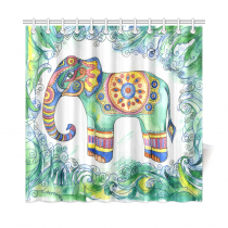 InterestPrint Indian Tribal Pattern Home Decor,African Elephant Polyester Fabric Shower Curtain Bathroom Sets