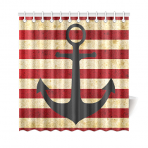 InterestPrint Vintage Red Stripes Sea Nautical Anchor Polyester Fabric Shower Curtain Bathroom Sets Home Decor