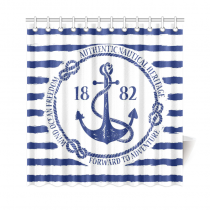 InterestPrint Blue White Nautical Navy Anchor Stripes Polyester Fabric Shower Curtain Bathroom Sets Home Decor