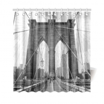 InterestPrint Brooklyn Bridge, New York Black and White Polyester Fabric Shower Curtain Bathroom Sets Home Decor