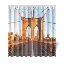 InterestPrint Brooklyn Bridge, New York Sunrise Polyester Fabric Shower Curtain Bathroom Sets Home Decor