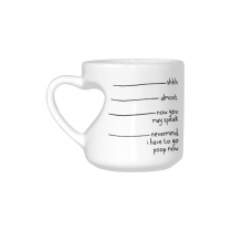 InterestPrint Shhh Almost Now You May Speak Nevermind I Have to Go Poop Now Quotes White Heart-shaped Travel Water Coffee Mug Tea Cup - Funny Birthday Gift for Husband Wife Boy Girl Him Her Lover