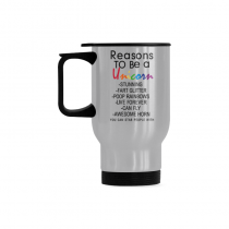 InterestPrint Custom Reasons to Be a Unicorn Quotes 14oz Funny Silver Stainless Steel Travel Water Coffee Mug Cup - Unique Birthday Gift for Men Women Mom Dad Husband Wife Boy Girl Friends Him Her