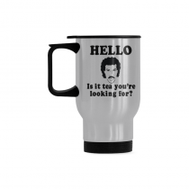InterestPrint Custom Hello Is It Tea Me You're Youare Your Looking for Quotes 14oz Funny Silver Stainless Steel Travel Water Coffee Mug Cup, Unique Birthday Gift for Husband Boy Girl Friends Him Her