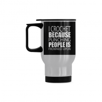 InterestPrint Kitchen & Dining Funny Quote Saying Stainless Steel Travel Mug Bottle-Silver-14 oz-I Crochet Because Punching People Is Frowned Up