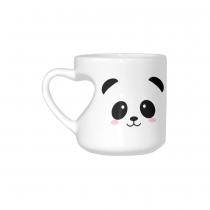 InterestPrint Cute Panda Face Quotes White Ceramic Heart-shaped Travel Water Coffee Mug Tea Cup - Funny Unique Birthday Gift for Men Women Mom Dad Husband Wife Boy Girl Friends Him Her Lover