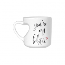 InterestPrint You're My Lobster Quotes White Ceramic Heart-shaped Travel Water Coffee Mug Tea Cup, Funny Unique Birthday Gift for Men Women Mom Dad Husband Wife Boy Girl Friends Him Her Lover