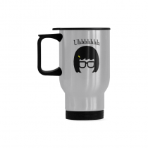 InterestPrint Custom Tina Belcher Uh Mya Quotes 14oz Funny Silver Stainless Steel Travel Water Coffee Mug Cup, Unique Birthday Gift for Men Women Mom Dad Husband Wife Boy Girl Friends Him Her