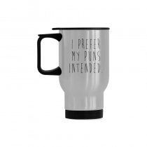 InterestPrint Custom I Prefer My Puns Intended Quotes 14oz Funny Silver Stainless Steel Travel Water Coffee Mug Cup - Unique Birthday Gift for Men Women Mom Dad Husband Wife Boy Girl Friends Him Her