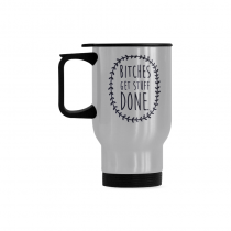 InterestPrint Custom Bitches Get Stuff Done Quotes 14oz Funny Silver Stainless Steel Travel Water Coffee Mug Cup, Unique Birthday Gift for Men Women Mom Dad Husband Wife Boy Girl Friends Him Her