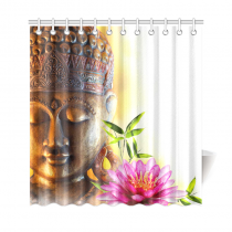 InterestPrint Zen Buddha Home Decor, Bamboo Lily Flower Water Polyester Fabric Shower Curtain Bathroom Sets