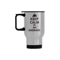 InterestPrint Custom Keep Calm I'm I am an Engineer 14oz Funny Silver Stainless Steel Travel Water Coffee Mug Cup Bottle, Unique Birthday Gift for Mom Dad Husband Wife