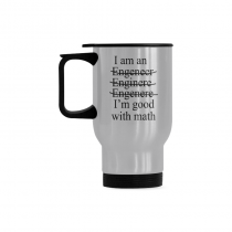 InterestPrint Custom I am I'm an Engineer Good with Math 14oz Funny Silver Stainless Steel Travel Water Coffee Mug Cup Bottle, Unique Birthday Gift for Mom Dad Husband Wife