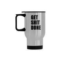 InterestPrint Custom GET SHIT DONE 14oz Funny Silver Stainless Steel Travel Water Coffee Mug Cup Bottle, Unique Birthday Gift for Mom Dad Husband Wife