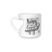 InterestPrint White Ceramic Does This Ring Make Me Look Engaged Cup Heart-shaped Travel Coffee Mug with Sayings, Best Friends Friendship Mom Funny Unique Birthday Thanksgiving Engagement Gifts