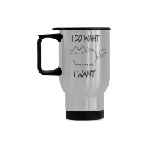 InterestPrint Custom I Do What I Want Cat Travel Mug 14oz Silver Stainless Steel Funny Camping Coffee Mug Cup, Best Friends Friendship Mom Unique Birthday Thanksgiving Gifts