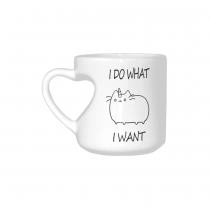 InterestPrint White Ceramic I Do What I Want Cat Unicorn Heart-shaped Travel Coffee Mug Cup with Sayings, Best Friends Friendship Mom Funny Unique Birthday Thanksgiving Gifts