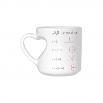 InterestPrint White Ceramic All I You Need is Love Heart-shaped Mug Math Engineer Travel Coffee Mug Cup Set with Sayings - Best Friends Friendship Mom Funny Unique Birthday Thanksgiving Gifts