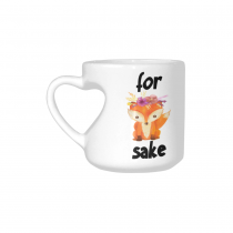 InterestPrint White Ceramic Heart-shaped Oh For Fox Sake Travel Coffee Mug Cup with Sayings, Best Friends Friendship Mom Funny Unique Birthday Thanksgiving Gifts