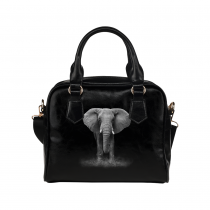 InterestPrint Black Elephant Women's PU Leather Purse Handbag Shoulder Bag