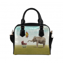 InterestPrint Lovely Elephant with Her Children PU Leather Purse Handbag Shoulder Bag