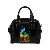 InterestPrint Galaxy Star Cat Black Women's PU Leather Purse Handbag Shoulder Bag