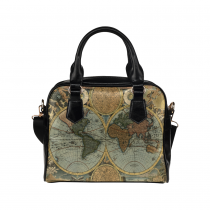 InterestPrint Vintage World Map Women's PU Leather Purse Handbag Shoulder Bag