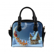 InterestPrint Santa Claus Rides Reindeer Christmas PU Leather Purse Handbag Shoulder Bag