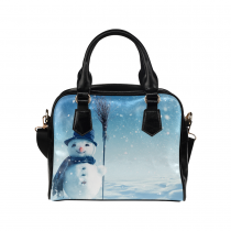 InterestPrint Happy Snowman Christmas Blue Women's PU Leather Purse Handbag Shoulder Bag