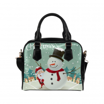 InterestPrint Christmas Santa Claus Snowman Women's PU Leather Purse Handbag Shoulder Bag