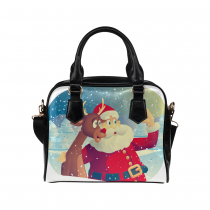 InterestPrint Santa Claus Reindeer Christmas Women's PU Leather Purse Handbag Shoulder Bag
