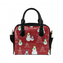 InterestPrint Red Christmas Tree Snowman Women's PU Leather Purse Handbag Shoulder Bag
