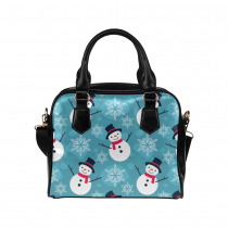 InterestPrint Snowflake Snowman Christmas Women's PU Leather Purse Handbag Shoulder Bag