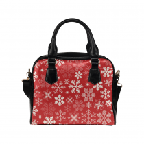 InterestPrint Red Snowflake Christmas Women's PU Leather Purse Handbag Shoulder Bag