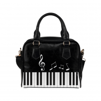 InterestPrint Black Music Notes Piano Women's PU Leather Purse Handbag Shoulder Bag