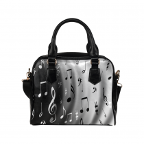 InterestPrint Grey Music Notes Women's PU Leather Purse Handbag Shoulder Bag