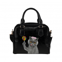 InterestPrint Hipster Cat Lollipop Black Women's PU Leather Purse Handbag Shoulder Bag