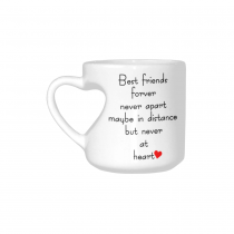 InterestPrint White Ceramic Best Friends Long Distance Heart-shaped Travel Coffee Mug Cup with Sayings, Best Friends Forver Never Apart Coffee Mug Mom Funny Unique Birthday Thanksgiving Gifts
