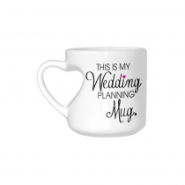 InterestPrint White Ceramic This Is My Wedding Planning Heart-shaped Travel Coffee Mug Cup with Sayings, Engagement Engaged Coffee Mug Cup Gifts