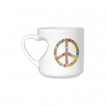InterestPrint White Ceramic Colorful Flower Peace Sign Symbol Heart-shaped Coffee Travel Mug Cup with Sayings, Best Friends Friendship Mom Funny Unique Birthday Thanksgiving Gifts