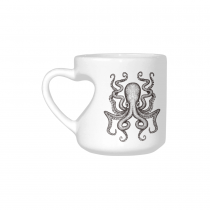 InterestPrint White Ceramic Ocean Animal Sea Monster Giant Octopus Heart-shaped Coffee Travel Mug Cup with Sayings, Best Friends Friendship Mom Funny Unique Birthday Thanksgiving Gifts