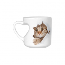 InterestPrint White Ceramic Funny Cat Looking From The Inside I love My Cat Cat Lover Heart-shaped Travel Coffee Mug Cup, Best Friends Friendship Mom Birthday Thanksgiving Gifts